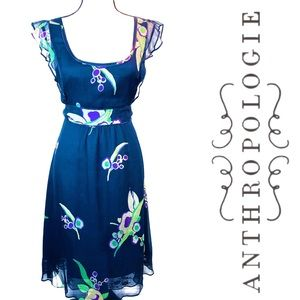 Anthropologie Maeve Navy Floral Short Sleeve Dress